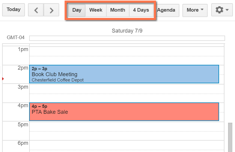 Viewing appointments by day in Google Calendar
