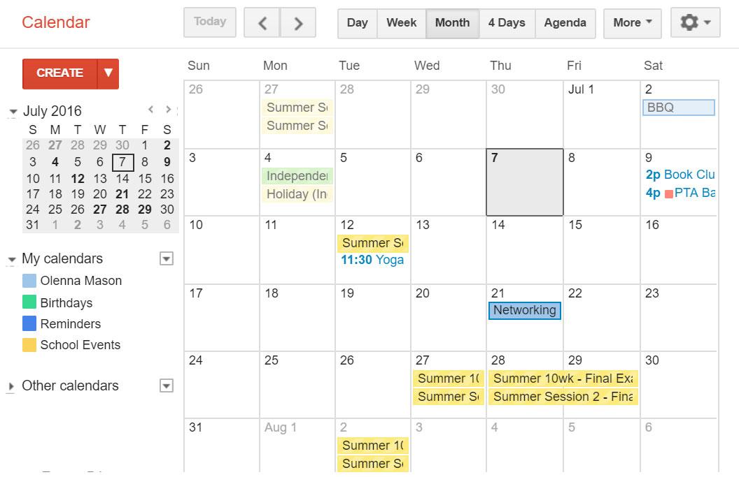 Multiple Calendars in Gmail