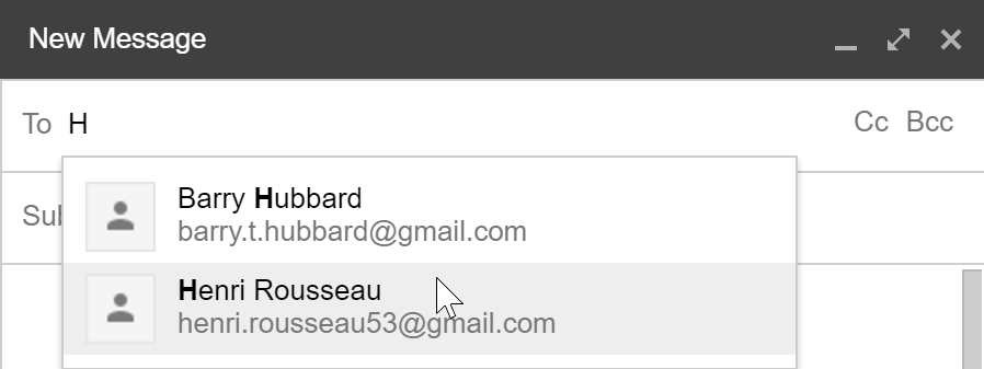Suggesting an email address from contacts