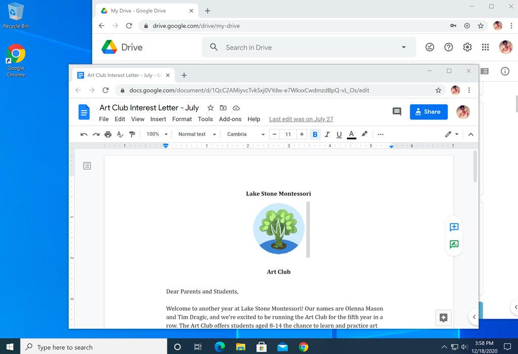 viewing a screenshot of Windows 10 desktop