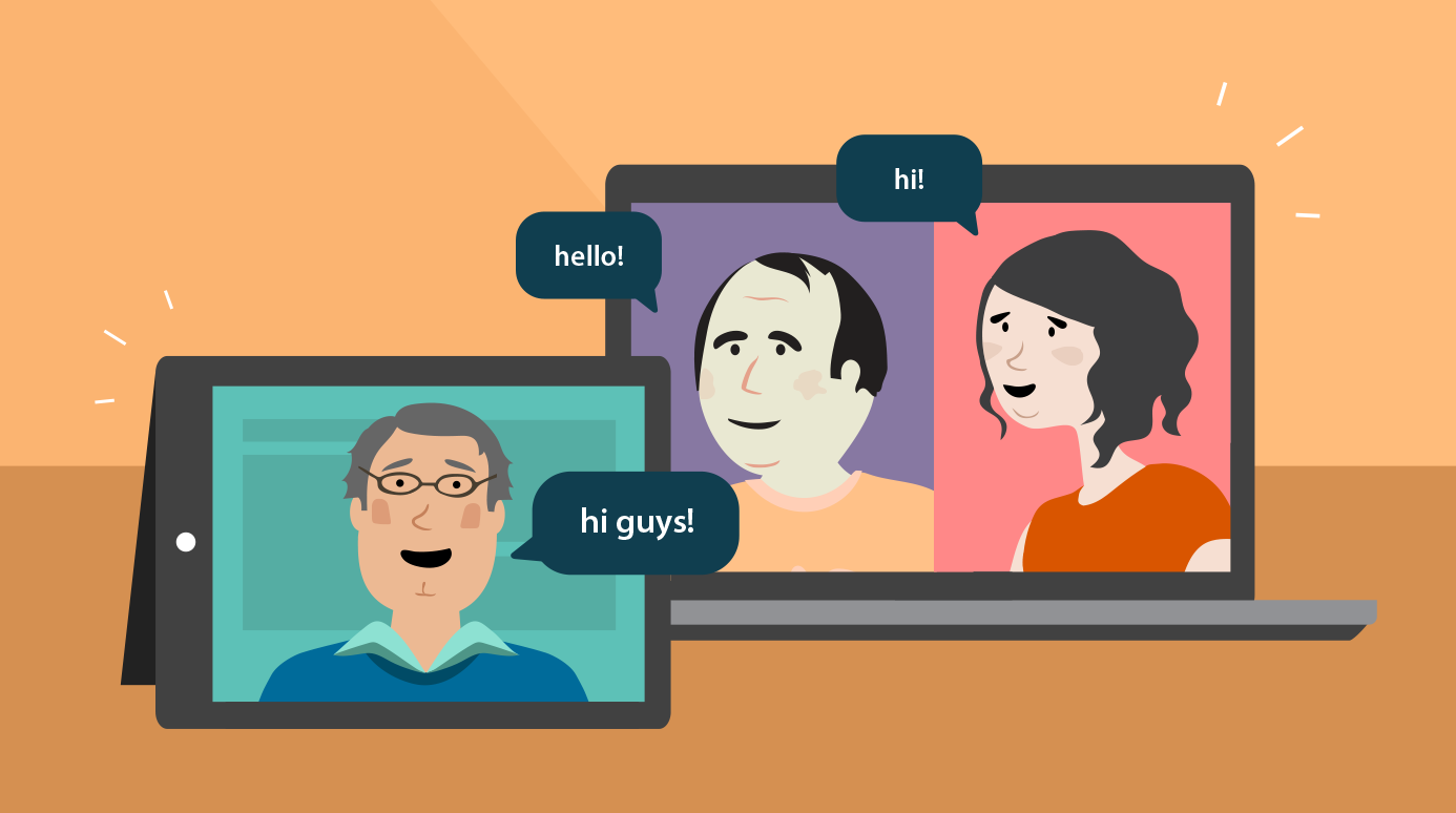 illustration of three people in an online group video chat