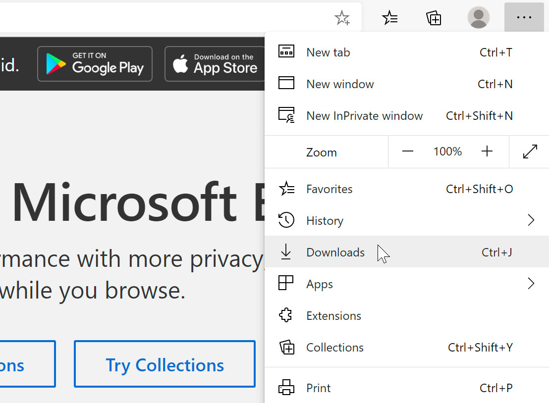 viewing downloads within Microsoft Edge