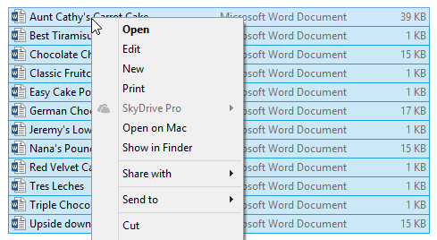 right-clicking files to open menu