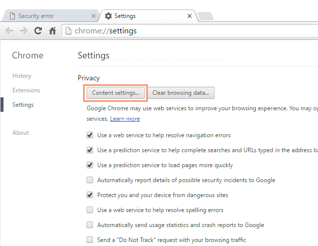 Chrome: Privacy and Security in Chrome Print Page