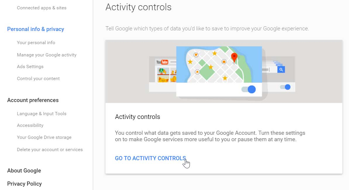 Clicking Go To Activity Controls