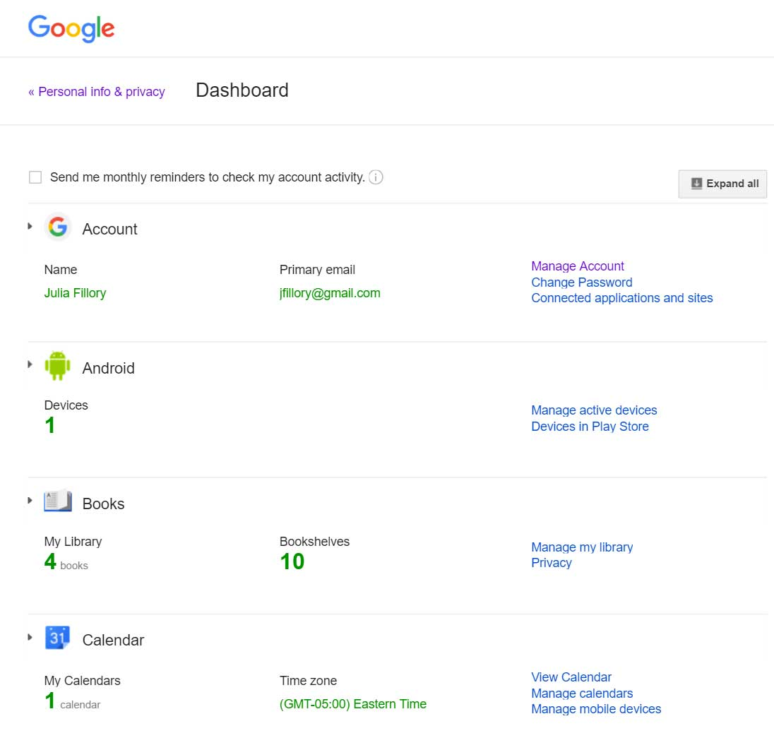 The Google Dashboard