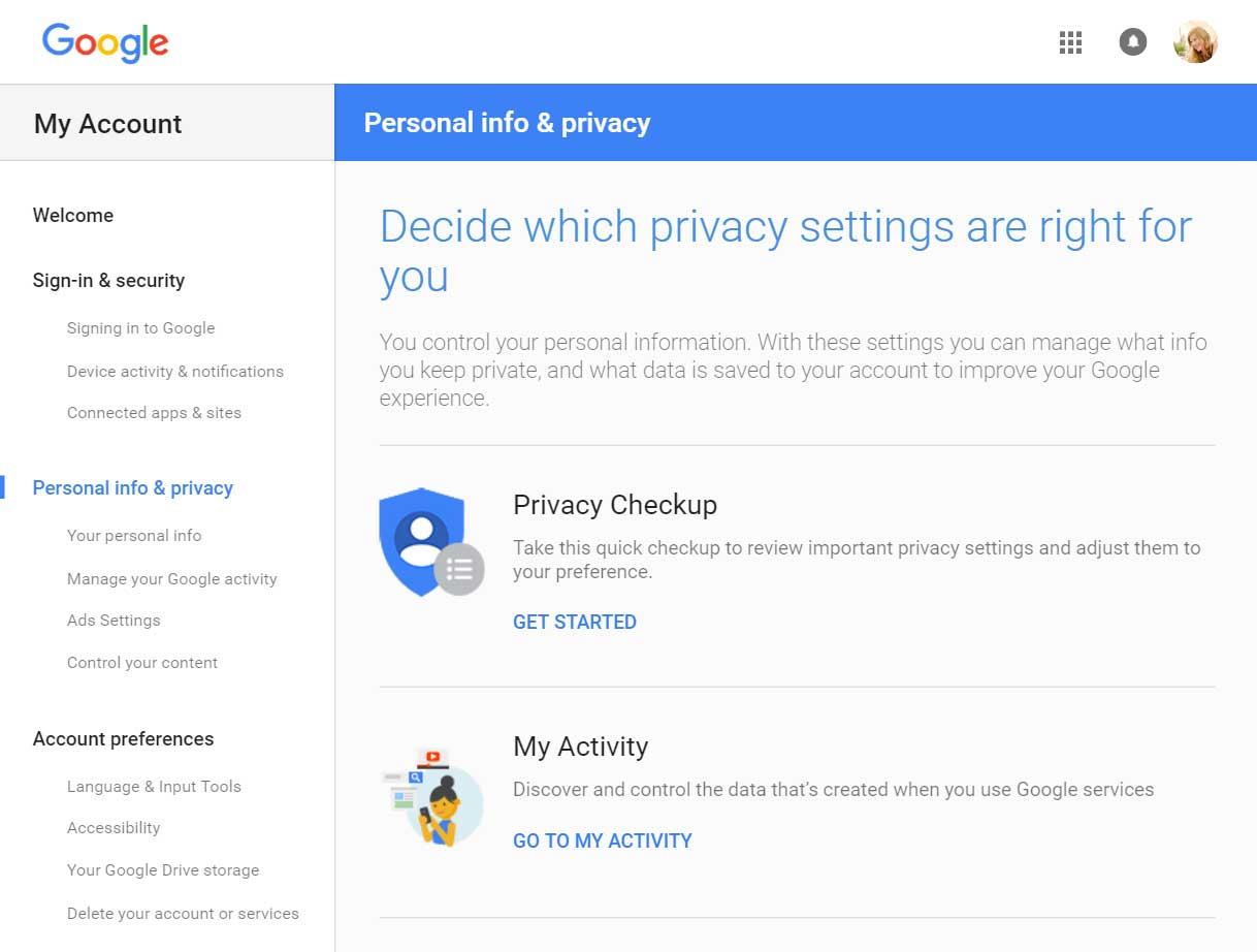 Google privacy tools