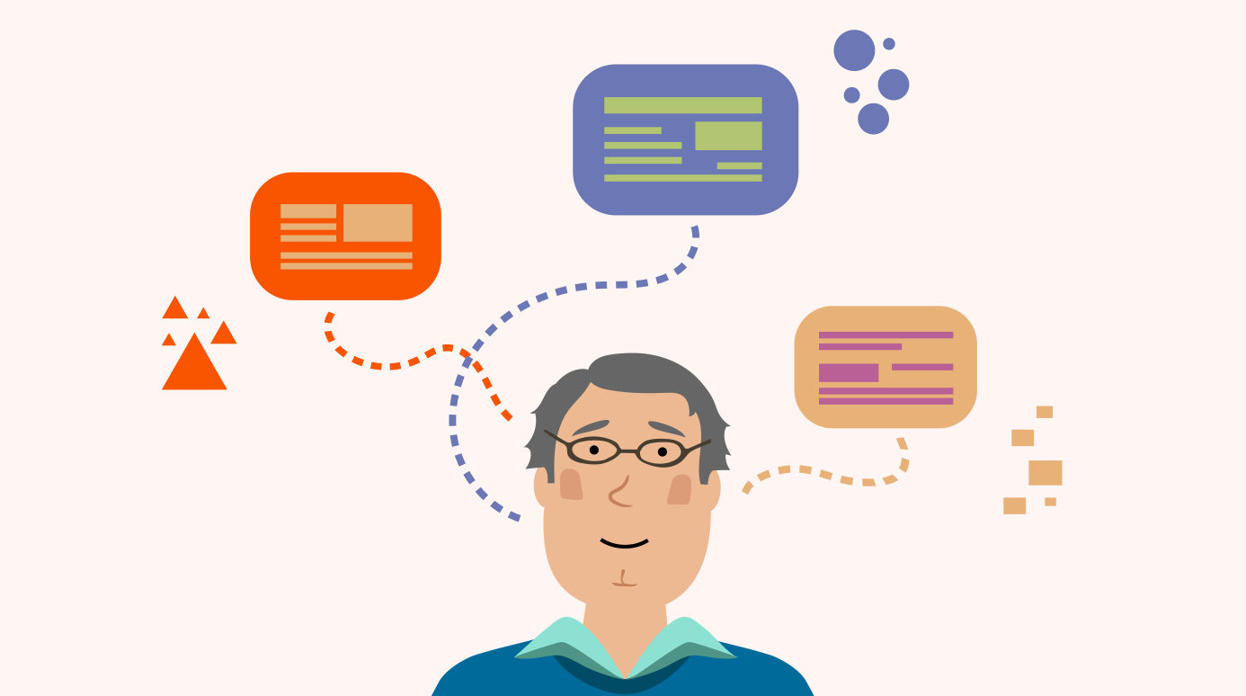illustration of a man thinking of various kinds of information