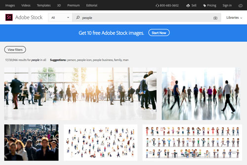 screenshot of Adobe Stock's website