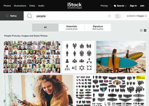 screenshot of iStock's website