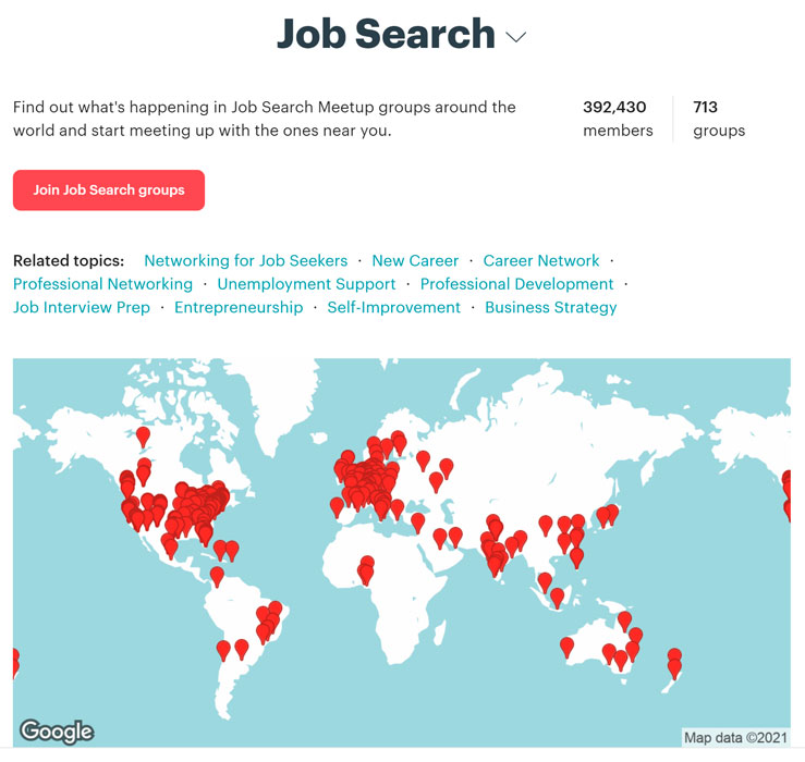 Meetup Job Search groups on a map