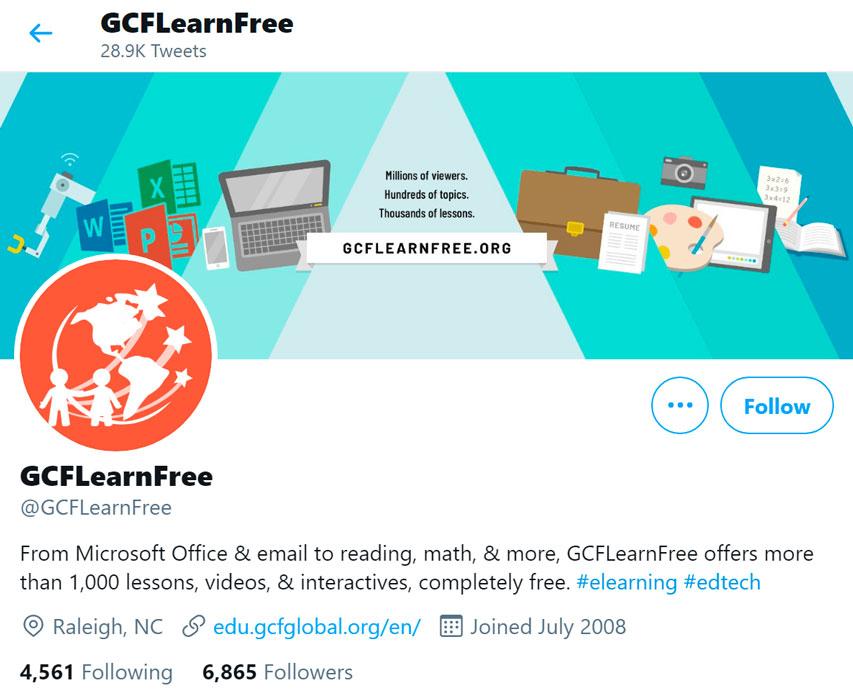 GCFLearnFree.org Twitter page