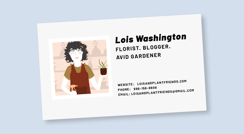 A business card for a florist and blogger