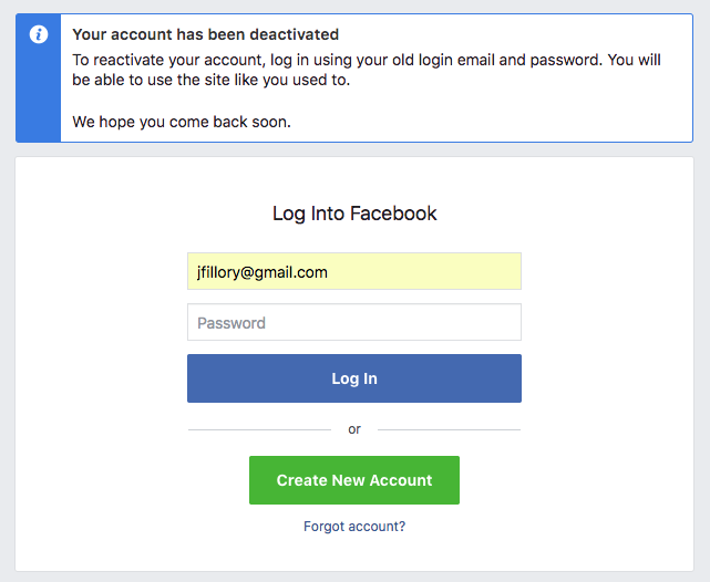 Facebook: Deactivating Your Facebook Account
