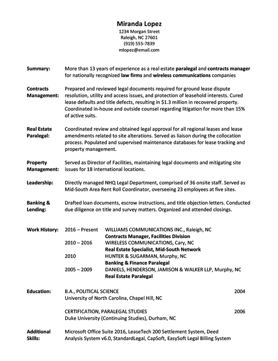 Resume_advanced_paralegal  Examples Of Completed Resumes