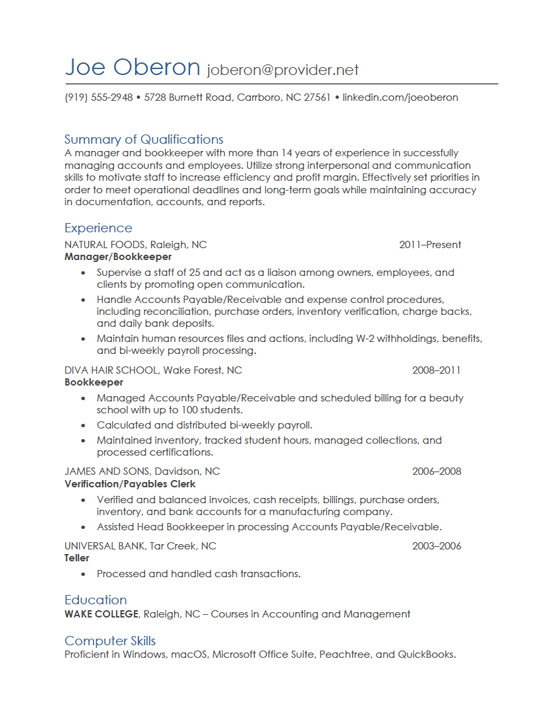 Resume Writing: Gallery Of Sample Resumes - Full Page