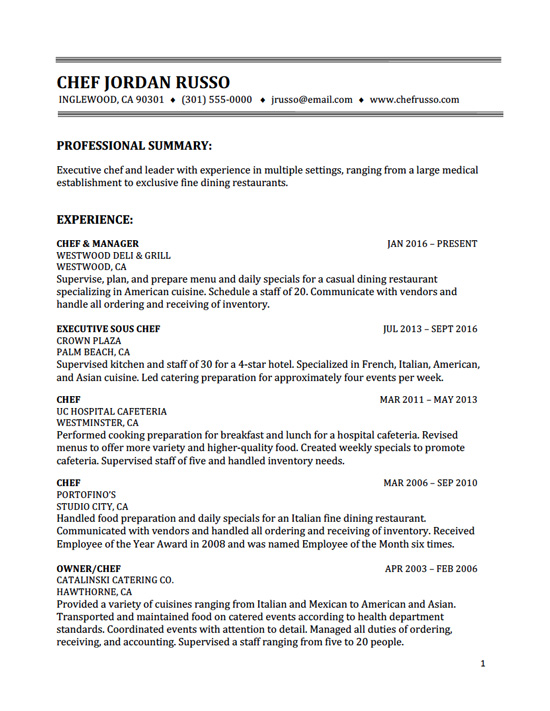 Chef_resume  Sample Resume Professional Summary
