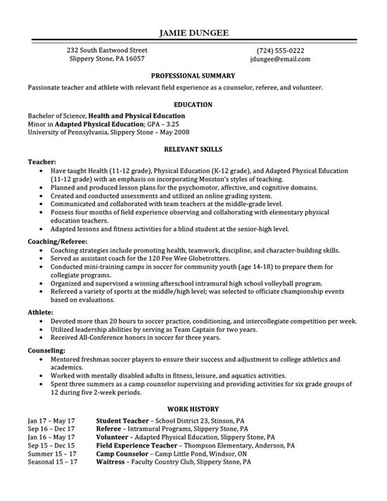 Teacher_resume  Examples Of Completed Resumes