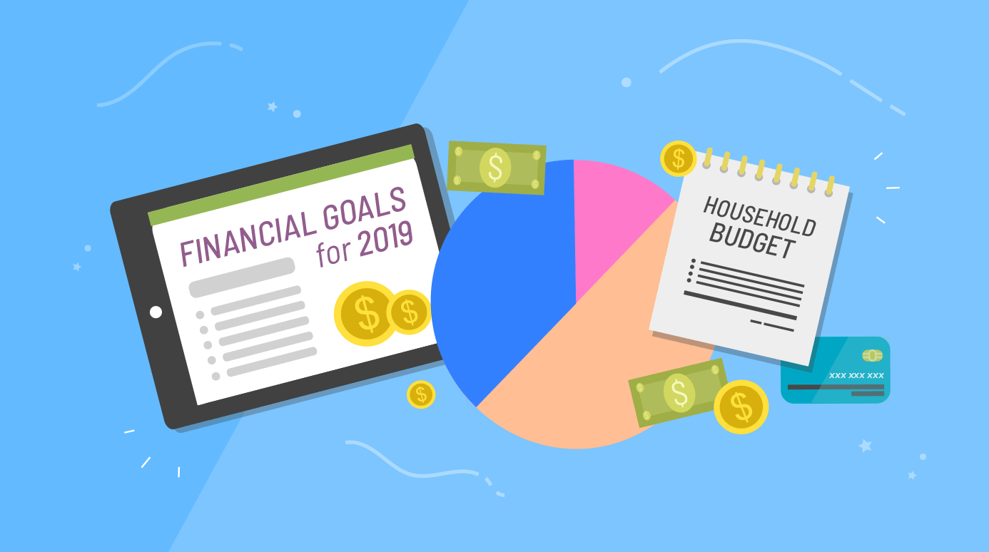 illustration of financial goals, a pie chart, a household budget, and a credit card