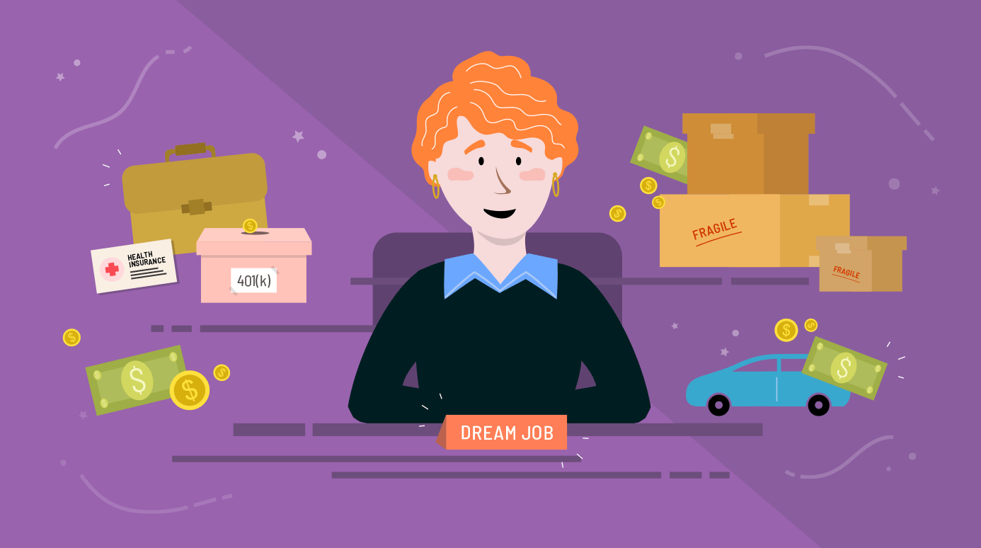 illustration of someone in their dream job surrounded by various costs