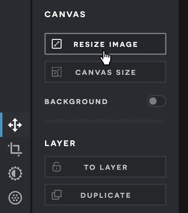 A screenshot of the Pixlr X Arrange menu.