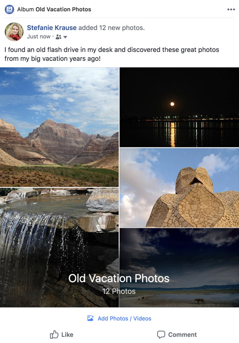 A screenshot of a Facebook photo album.