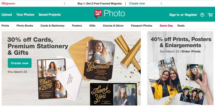 A screenshot of the Walgreens Photo website.