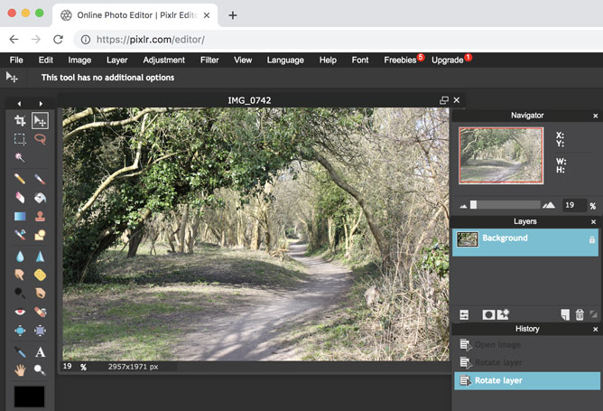 The Pixlr Editor interface, with an image of a hiking trail.
