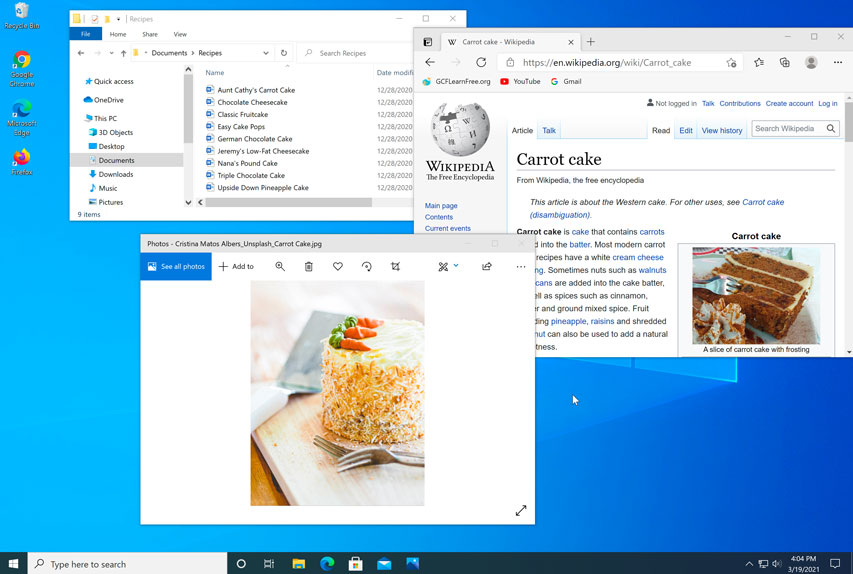Windows 10 desktop interface