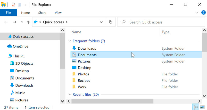 double-clicking a folder