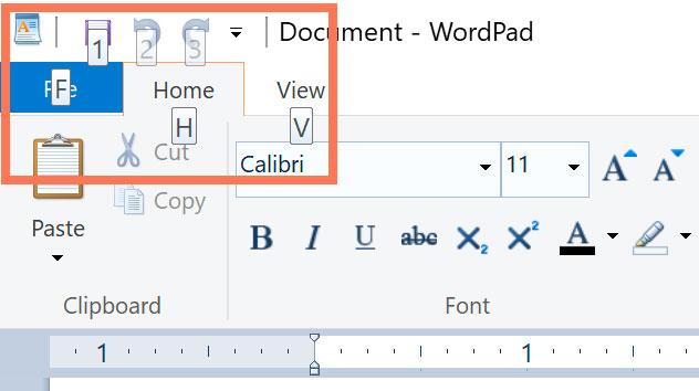 alt key to navigate menus