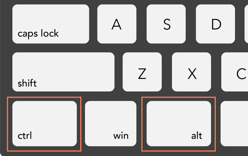 ctrl and alt keys on a PC keyboard