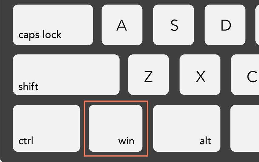 Windows key on a PC keyboard