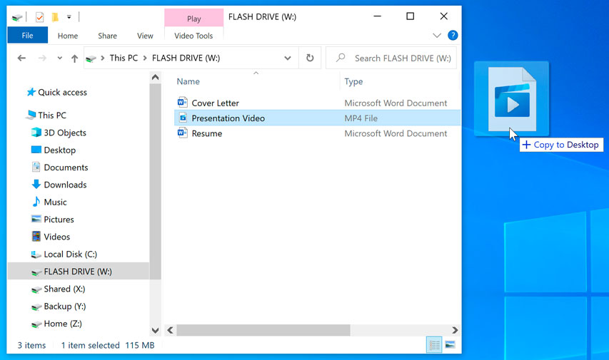 copy from flash drive window to the desktop