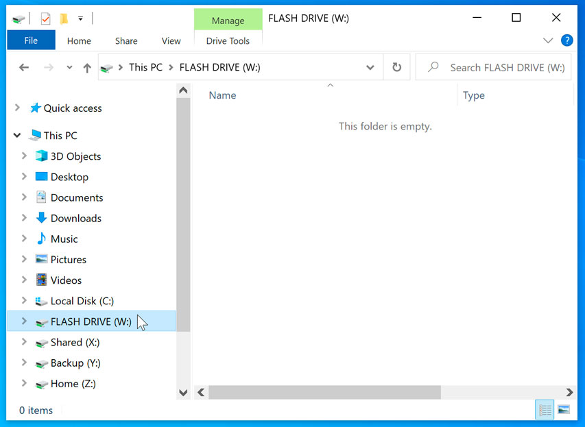 flash drive located in the left side of the window