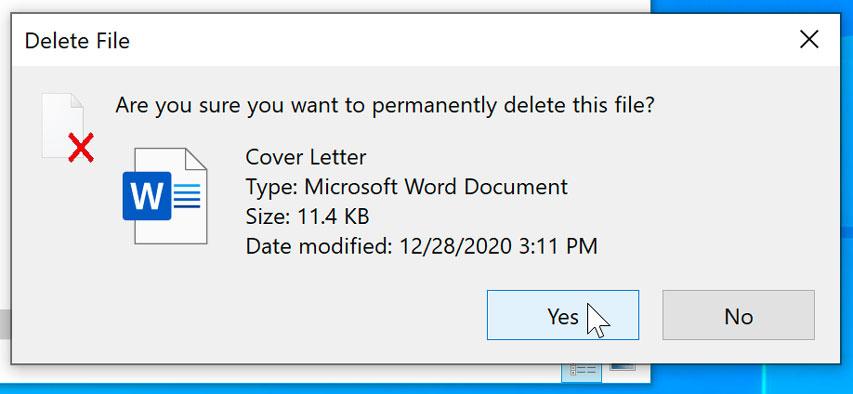 dialog box regarding deleting a file