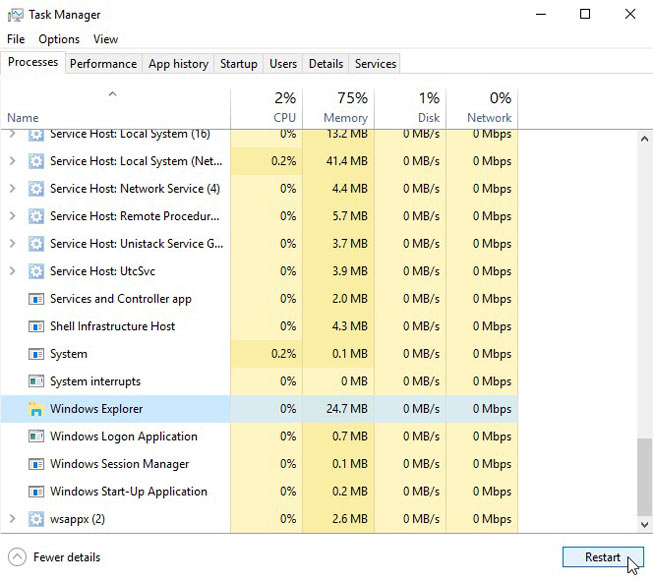 Restarting Windows Explorer from the Task Manager