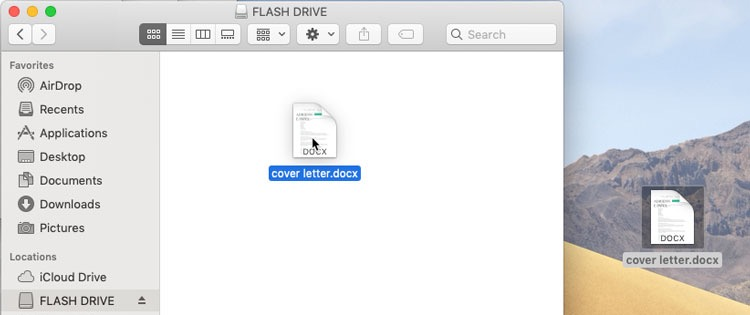 screenshot of copying a file from a flah drive to a desktop