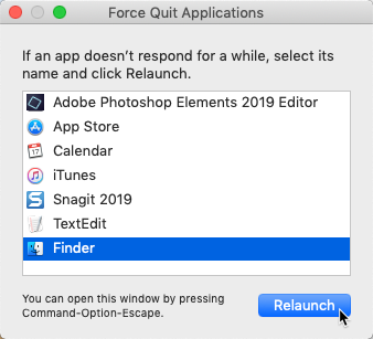 screenshot of relaunching Finder from the Force Quit menu