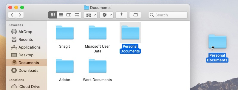 screenshot of creating a folder shortcut