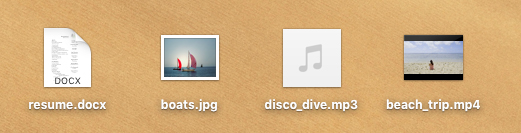 screenshot of various file types in macOS