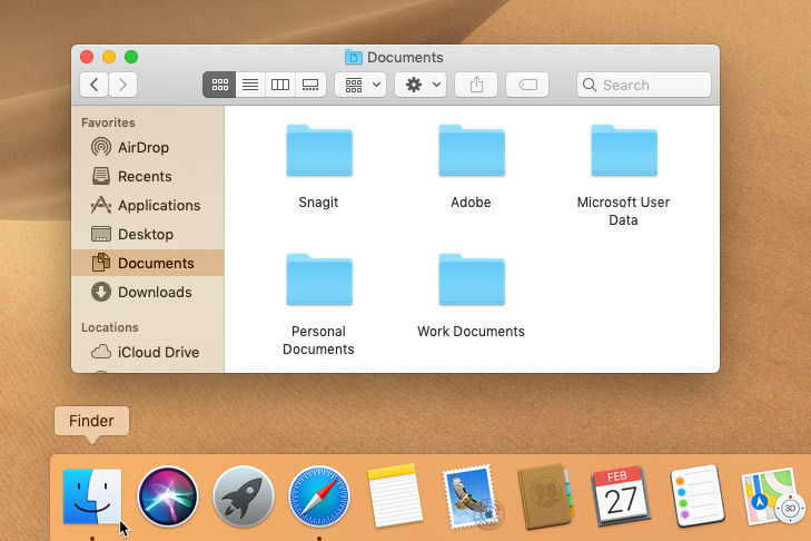screenshot of opening Finder in macOS