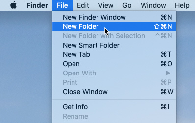 screenshot of selecting the New Folder command from the File menu