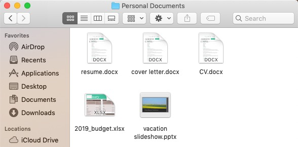 screenshot of a folder's contents