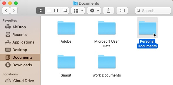 screenshot of double-clicking a folder to open it