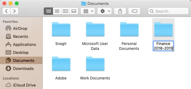 screenshot of renaming a folder