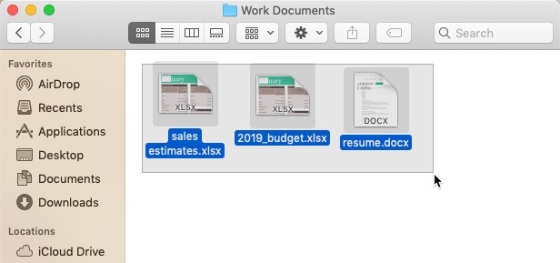 screenshot of selecting multiple files by clicking and dragging