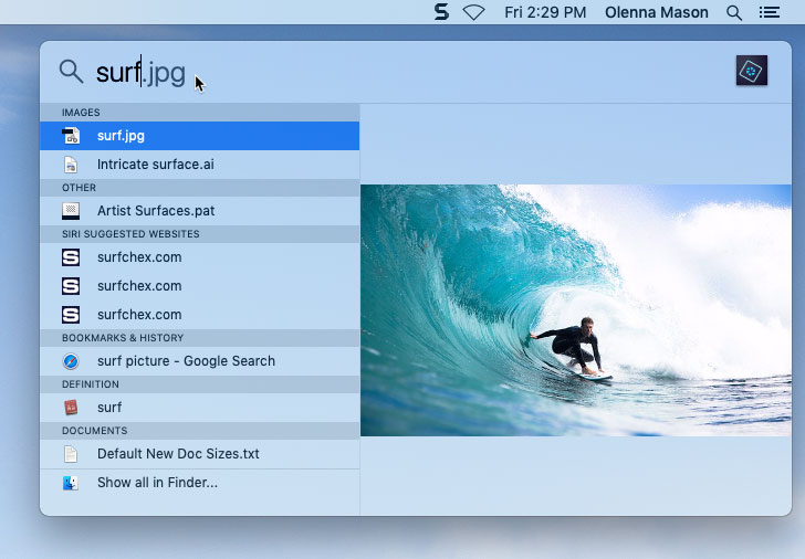 screenshot of using Spotlight to find a file