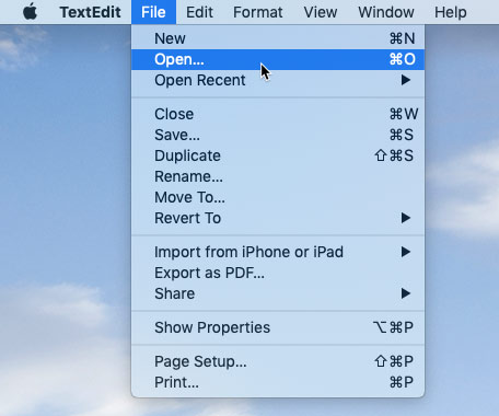 screenshot of an application's File menu