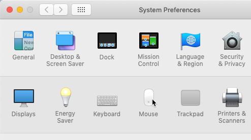 screenshot of selecting the Mouse icon in the System Preferences menu
